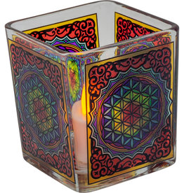 Handcrafted Glass Square Votive Holder - Flower of Life - 01166