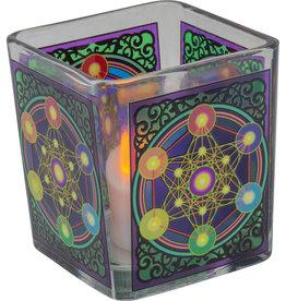 Handcrafted Glass Square Votive Holder - Metatron Chakra - 01167