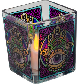 Handcrafted Glass Square Votive Holder - Fatima Hand - 01168