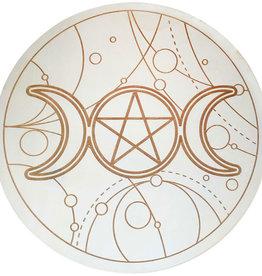 Wood Crystal Grid - Triple Moon w/ Pentacle - 15185
