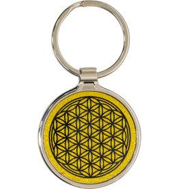 Metal Key Ring - Flower of Life - Gold - 58626