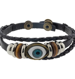 Bracelet - Protection - Leather Braided Black - 98806