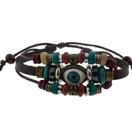 Bracelet - Protection - Leather Braided Brown - 98807