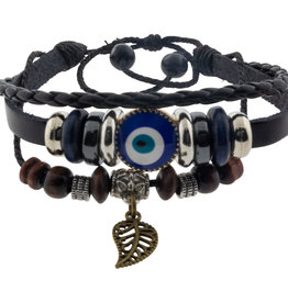 Bracelet - Protection - Evil Eye - Black w/ Feather - 98808