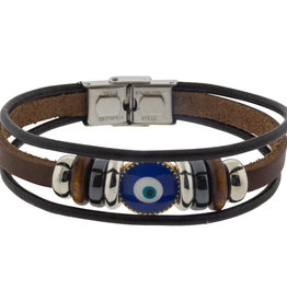 Bracelet - Protection - Evil Eye - Triple Row Brown - 98809