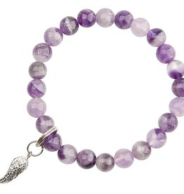 Amethyst & Angel Wing Bracelet - Good Health & Protection