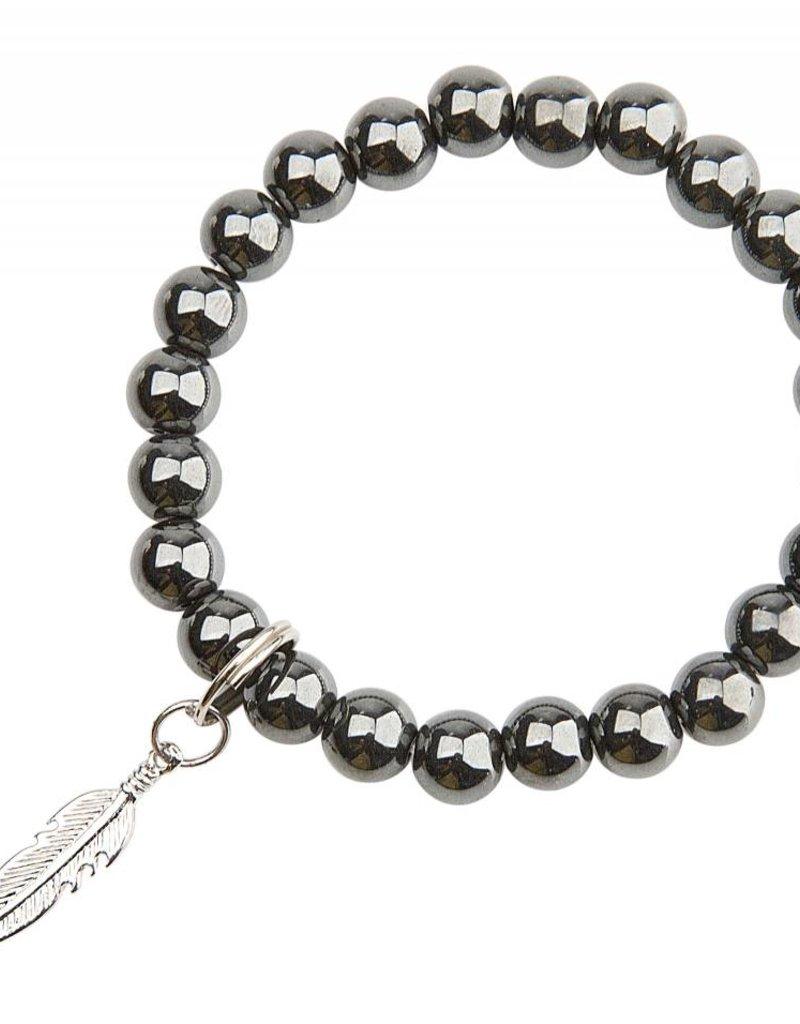 Hematite & Feather Bracelet - Happiness & Strength