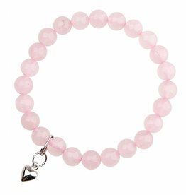 Rose Quartz and Heart Bracelet - Love and Friendship