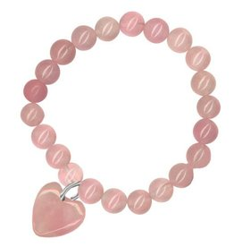 Rose Quartz Bracelet with Hanging Heart - Love