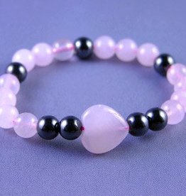 Rose Quartz and Magnetic Hematite Bracelet - Happiness