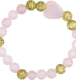 Rose Quartz and Seeds of the Lotus Flower Bracelet - Faith and Hope