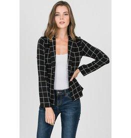 Buttonless Grid Blazer