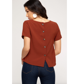 Casey Back Button Top