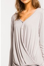 Inez Button Front Wrap Top