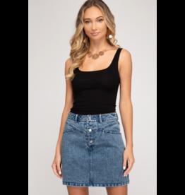 Nasya Acid Wash Denim Skirt
