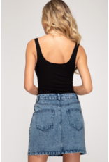 Nasya Acid Wash Denim Skirt