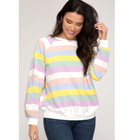 Violet Stripe Sweater Top