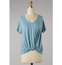 Raglan Knotted Front Top