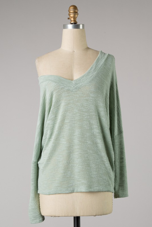 Double V Neck Slouchy Sweater