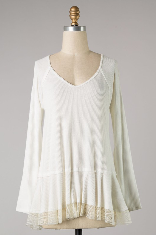 Cashmere Rib Top with Lace Bottom