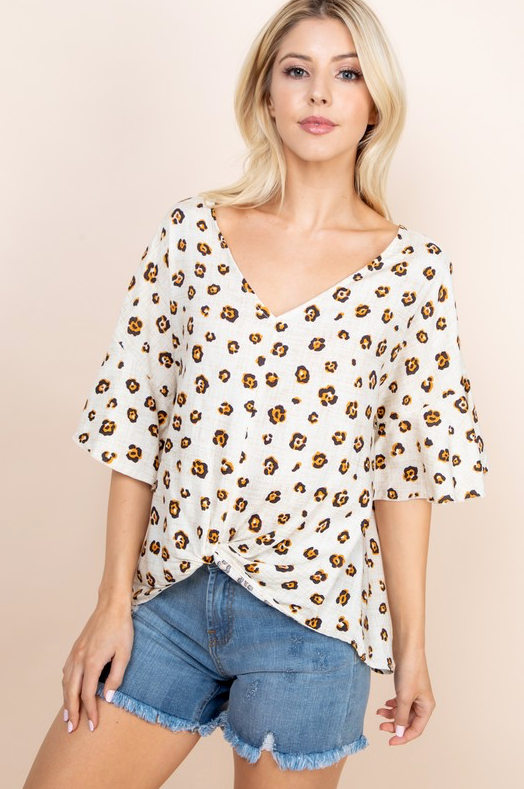Knotted Leopard Blouse