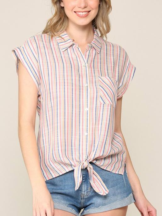 Slub Stripe Button Up Top