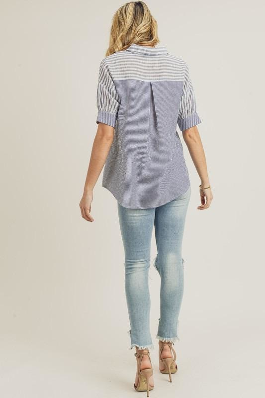 Mixed Stripe Button Up