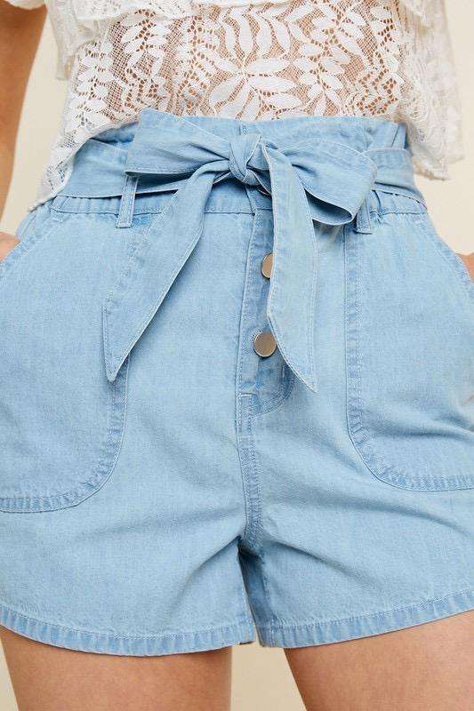 Belted High Rise Paperbag Short