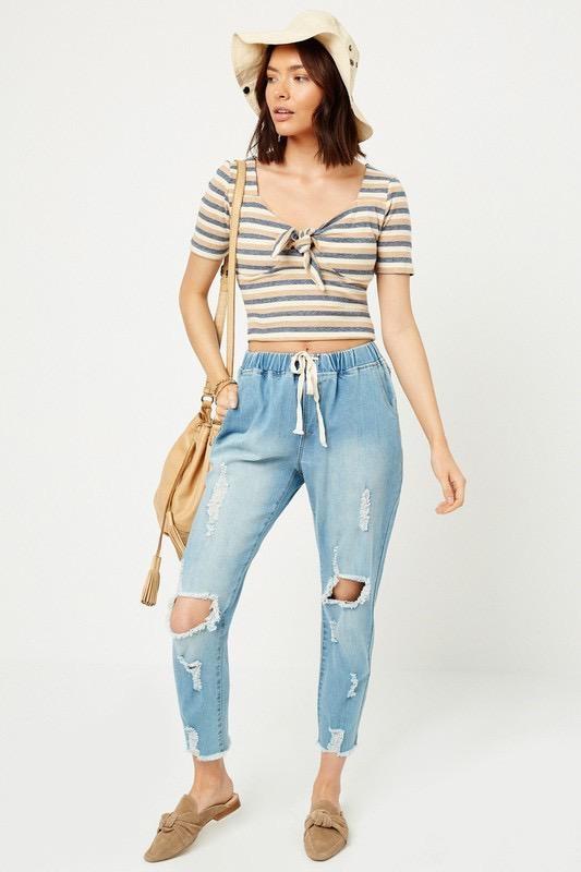 Distressed Drawstring Jean