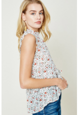 Floral Smock Neck Ruffle Top