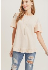 Lace Sleeve Ruffle Top