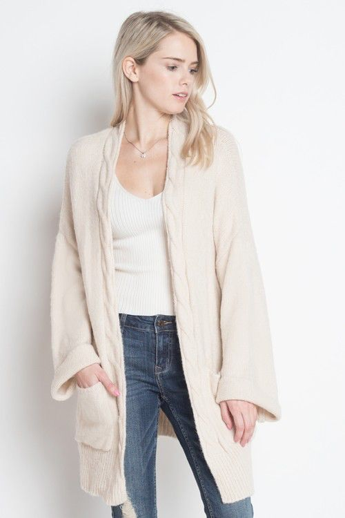 Cable Knit Trim Cardigan