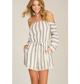 Striped Off The Shoulder Romper