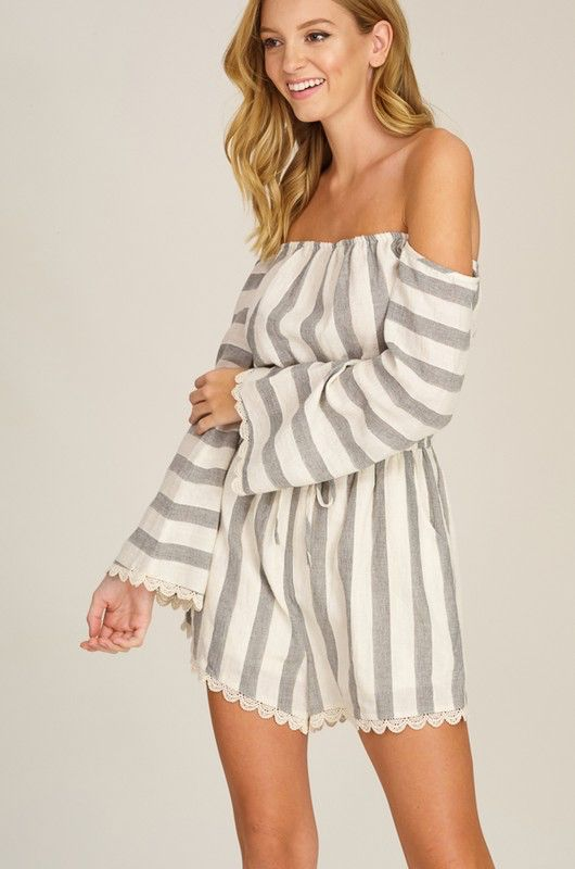 4c08478fb33 Striped Off The Shoulder Romper Striped Off The Shoulder Romper ...