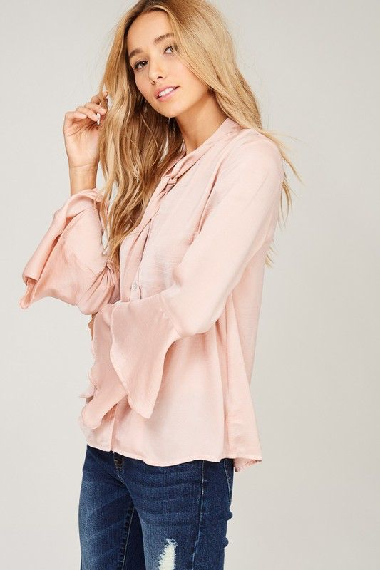 0fab0938218 Silky Neck Tie Blouse - Style Bar Boutique