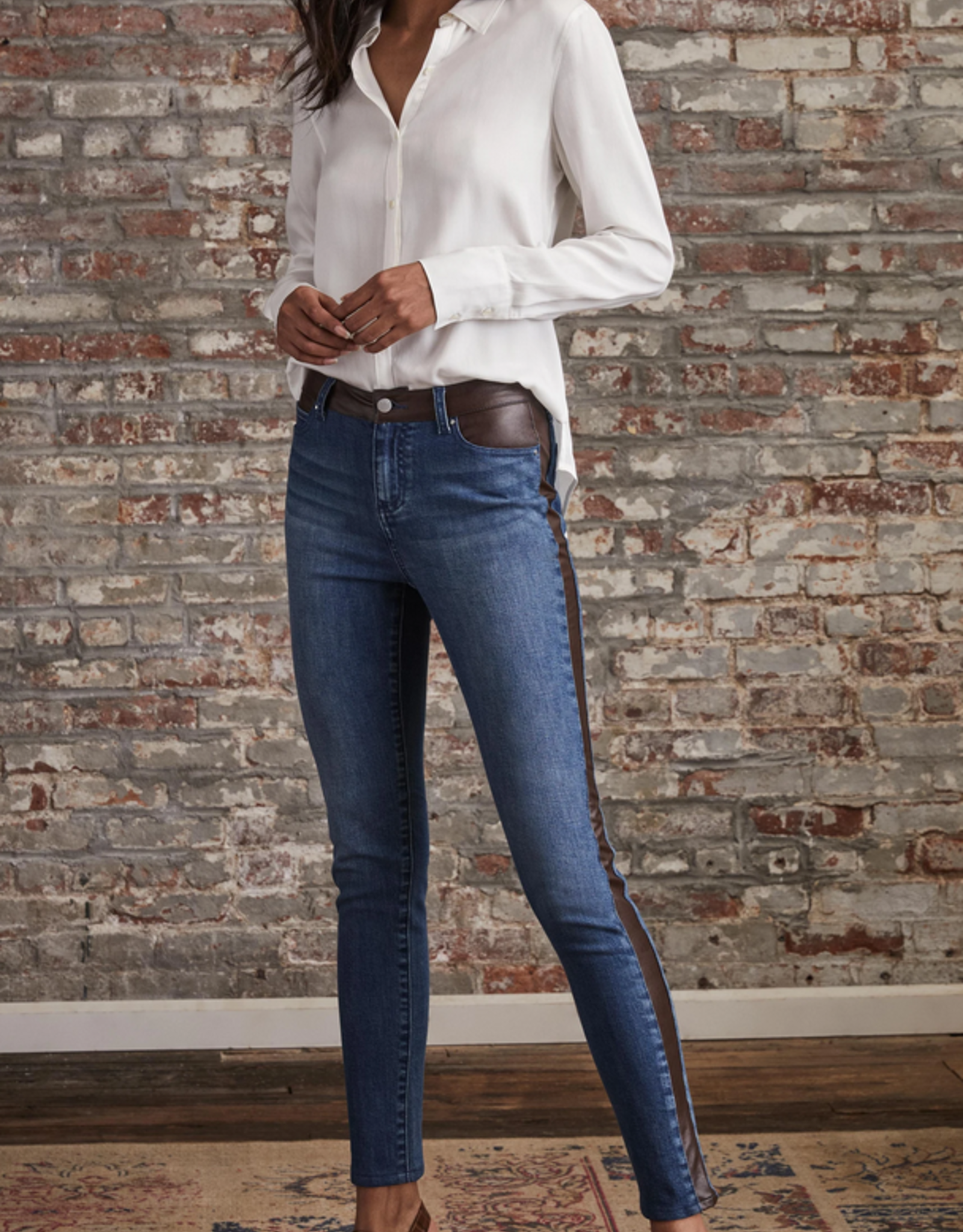 Los Feliz pocket/leather jeans