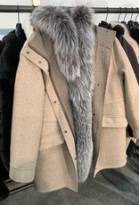 Silver fox hooded down coat