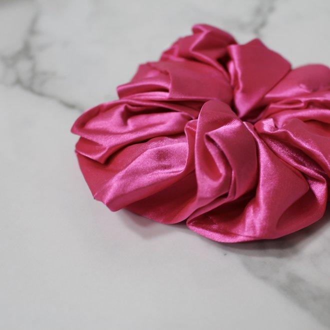 Chouchou en satin - Rose fushia