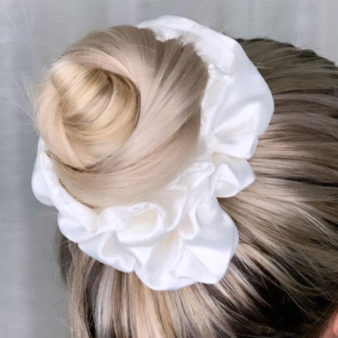 Chouchou en satin - Blanc perlé