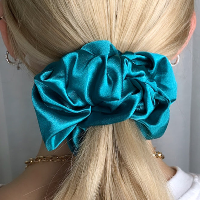 Chouchou en satin - Turquoise
