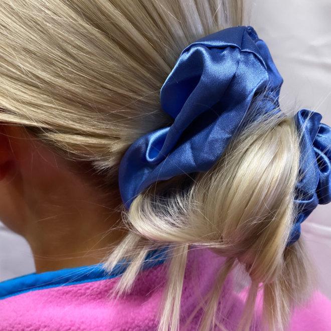 Chouchou en satin - Bleu cachemire