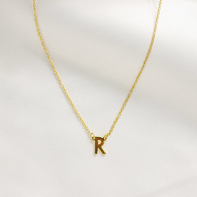 Collier pendentif lettre R - Or