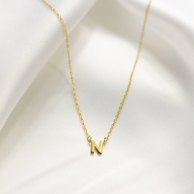 Collier pendentif lettre N - Or
