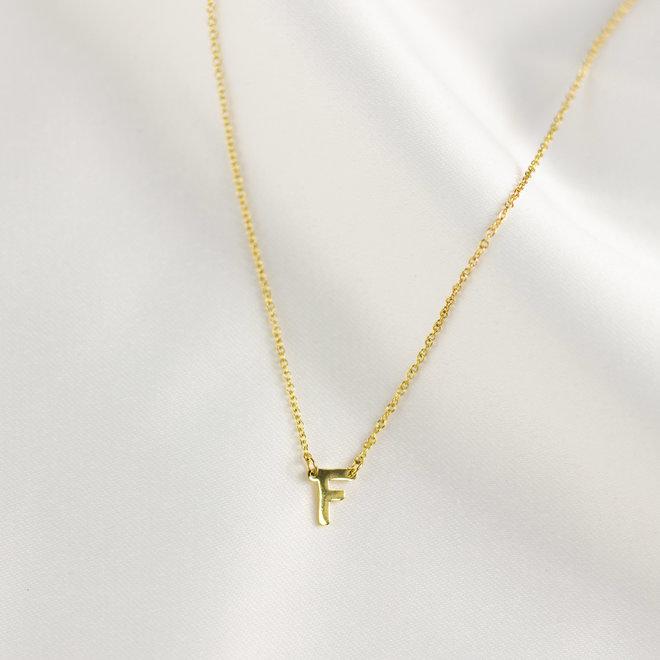 Collier pendentif lettre F - Or