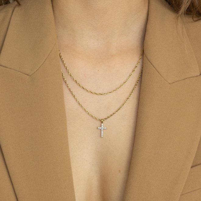 Pendentif croix zircons Lotus - Or