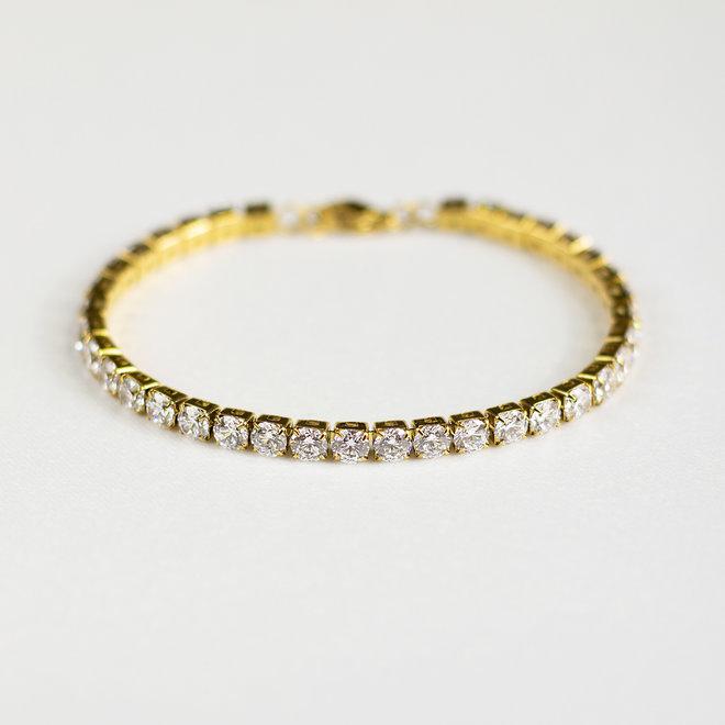 Bracelet Tennis zircons 4mm Cassia - Or
