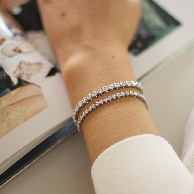 Bracelet Tennis zircons 4mm Cassia - Argent