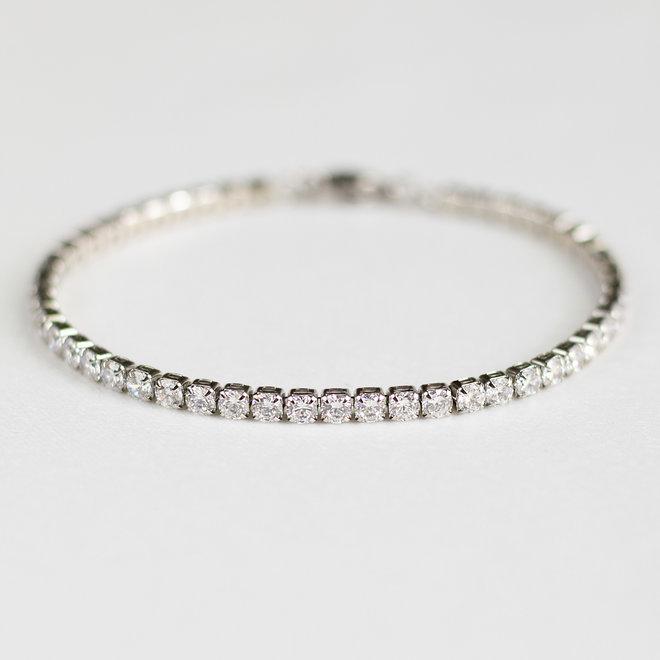 Bracelet Tennis zircons 3mm Cassia - Argent