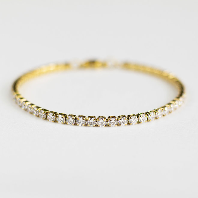 Bracelet Tennis zircons 3mm Cassia - Or