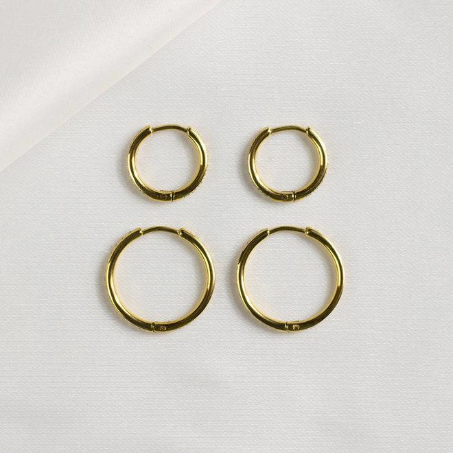 Anneaux 15mm zircons Florentina - Or